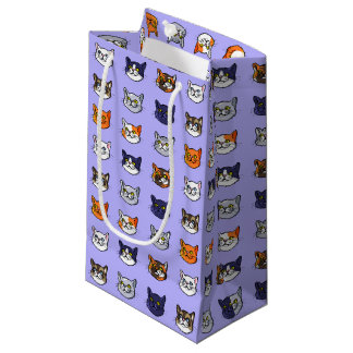 Cat Face Drawing Different Breeds Pattern Gift Bag