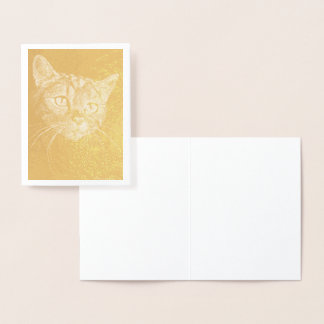 Cat Face! gold foil note card