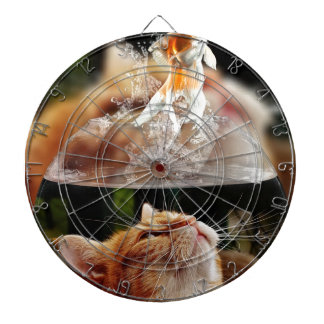 Cat Face Goldfish Glass Close View Eyes Portrait Dartboard