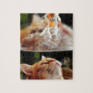 Cat Face Goldfish Glass Close View Eyes Portrait Jigsaw Puzzle