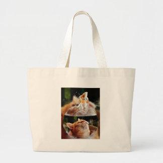Cat Face Goldfish Glass Close View Eyes Portrait Large Tote Bag