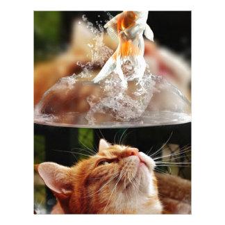 Cat Face Goldfish Glass Close View Eyes Portrait Letterhead