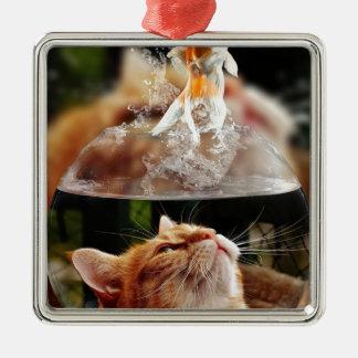 Cat Face Goldfish Glass Close View Eyes Portrait Metal Ornament
