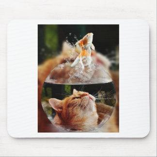Cat Face Goldfish Glass Close View Eyes Portrait Mouse Pad