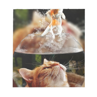 Cat Face Goldfish Glass Close View Eyes Portrait Notepad