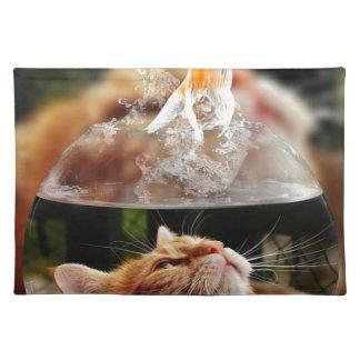 Cat Face Goldfish Glass Close View Eyes Portrait Placemat