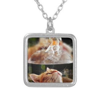 Cat Face Goldfish Glass Close View Eyes Portrait Silver Plated Necklace