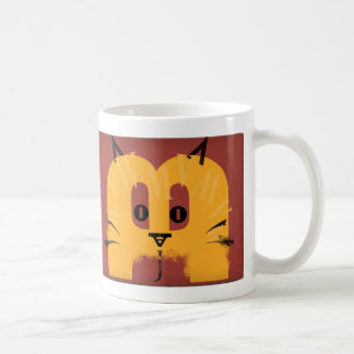 cat face made with letters coffee mugs