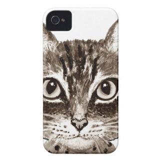 Cat face Sepia art Case-Mate iPhone 4 Cases