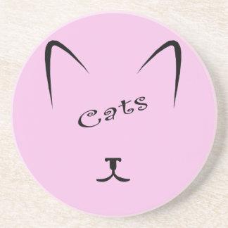 cat face silhouette coaster