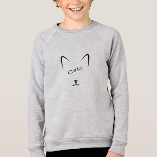 cat face silhouette sweatshirt
