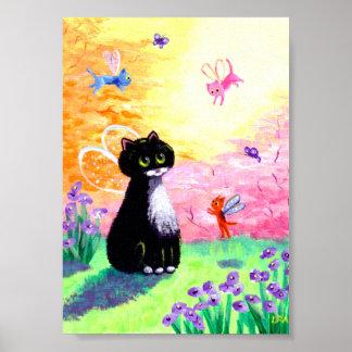 Cat Fairies Angels Tuxedo Black Creationarts Poster