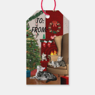 Cat family Christmas Gift Tags