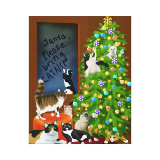 Cat Family Christmas Wrapped Canvas