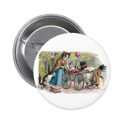 Cat Family Outing Pinback Buttons