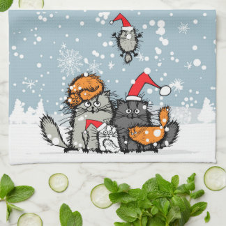 Cat family portrait in the snow kitchen towel