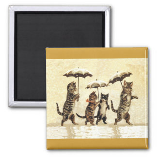 Cat Family With Umbrellas Walking in Snow Square Magnet