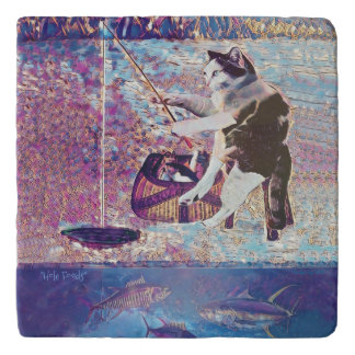 Cat Fish Ice Fishing Funny Marble Stone Trivet