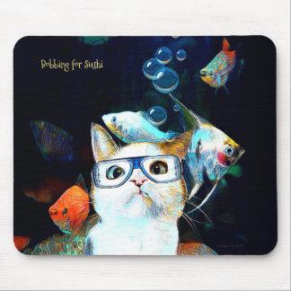 Cat Fish Sushi Humor Funny Fantasy Mouse Pad