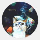 Cat Fish Sushi Humour Funny Fantasy Round Sticker