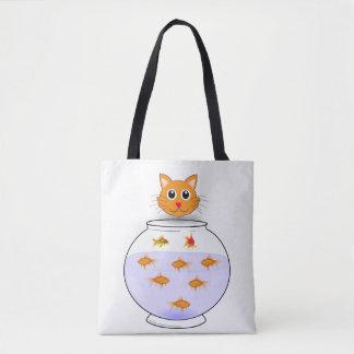 Cat fish tote bag