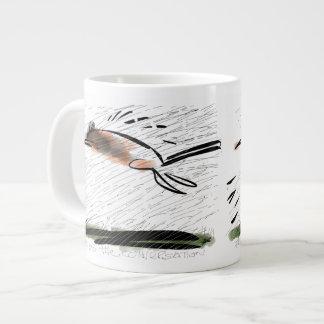 Cat fleeing barrage of lines. jumbo mug