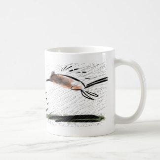 Cat fleeing barrage of lines. mugs