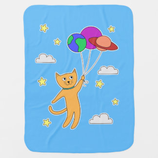 Cat Floating off Into Space with Planet Balloons Baby Blanket