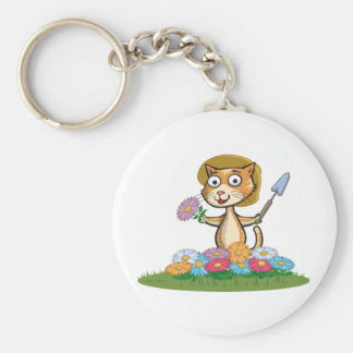 Cat Flower Gardener Keychain