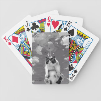 Cat flying with Balloons - Bicycle Playing Cards