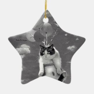 Cat flying with Balloons: star-shaped Ornament