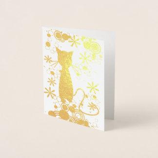 Cat Foil Blank Inside Note Card
