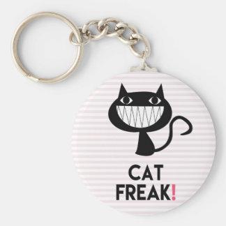 Cat Freak! Fun Keychain - Pink & white stripes
