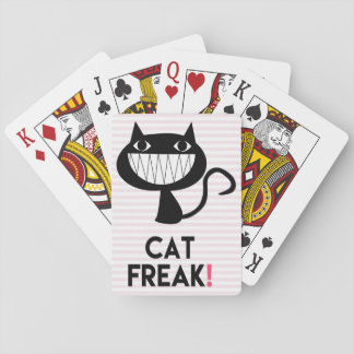 Cat Freak! Fun Playing Cards Pink & White Stripes