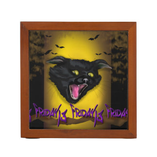 CAT FRIDAY CARTOON HALLOWEEN Desk Organizer