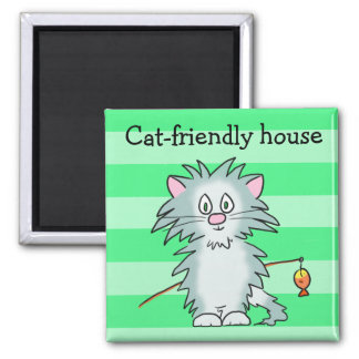 Cat-friendly house magnet
