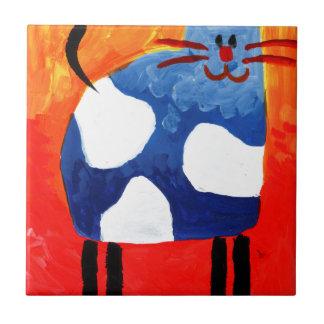 Cat fun drawing painting art handmade tile