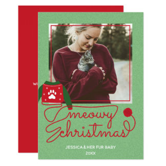 Cat Fur Baby Custom Photo Holiday Christmas Card