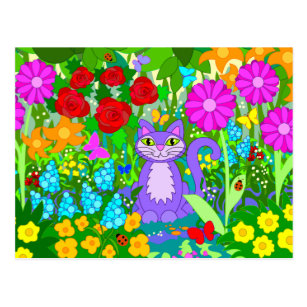 Cat Garden Colourful Flowers Butterflies Ladybugs Postcard