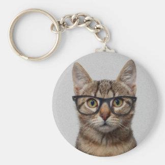 Cat geek basic round button keychain