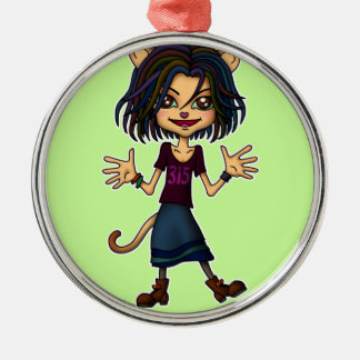cat girl metal ornament