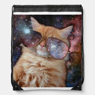 Cat Glasses - sunglasses cat - cat space Drawstring Bag