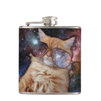 Cat Glasses - sunglasses cat - cat space Hip Flask