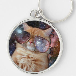 Cat Glasses - sunglasses cat - cat space Keychain