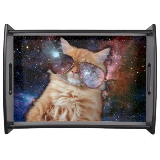 Cat Glasses - sunglasses cat - cat space Serving Tray