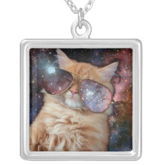 Cat Glasses - sunglasses cat - cat space Silver Plated Necklace