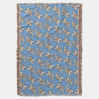 Cat graphic pattern brown blue throw