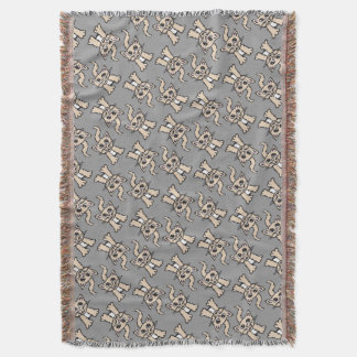 Cat graphic pattern brown grey throw