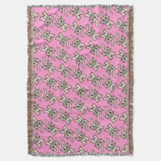 Cat graphic pattern brown pink throw