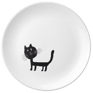 Cat Happy Black Kittie Decorative Porcelain Plate